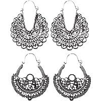 Prettyia 2 Pairs Hollow Vintage Drop Earring Ethnic Tribal Hippy Boho Dangle Earrings