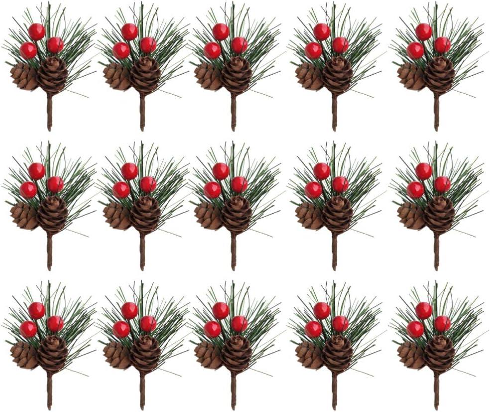 1//3x Artificial Pine Picks Christmas Red Berry Stems Tree Xmas Flower Decoration