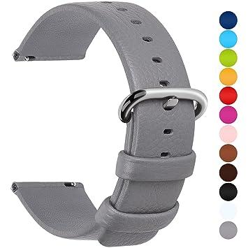 Fullmosa Uli Piel Correa Reloj, 12 Colores para Correa/Banda/Pulsera/Strap Reloj Huawei/Samsung/Recambio/Reemplazo 18mm 20mm 22mm 24mm, Gris 24mm