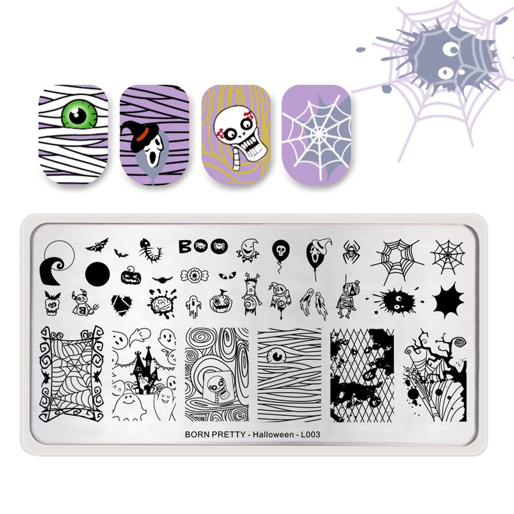BORN PRETTY Nail Art Stamp Templates Halloween Stamping Image Rectangle Stamp Plate Fairy Flower L006
