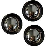 Set di 3nero e oro incorniciato convesso Fish Eye a specchio da parete 14in.