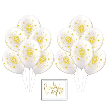 Andaz Press Bulk High Quality Latex Balloon Party Kit with Gold Cards &  Gifts Sign, Gold Baptism Cross