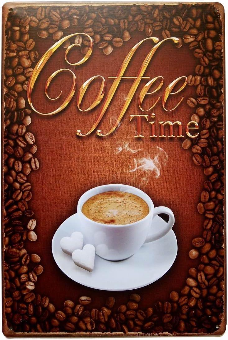 ERLOOD Coffee Time Retro Vintage Decor Metal Tin Sign 12 X 8