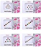 Lady Fashion Multi Color Nug Border Fashionable Bindi Combo of 6 Pcs