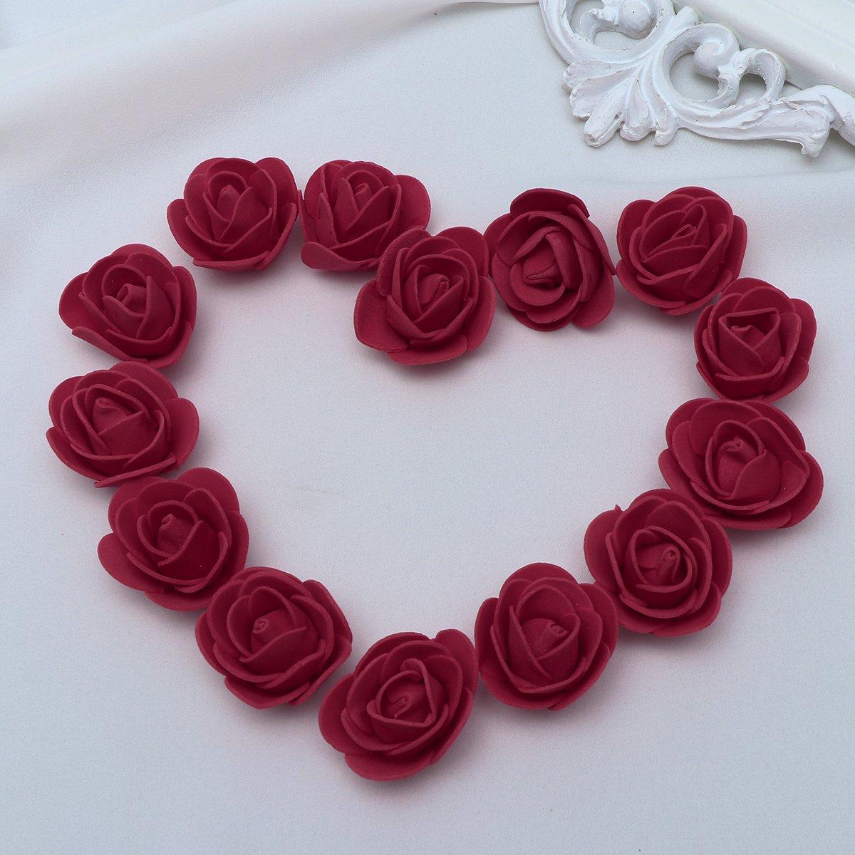39fcc6c88a9 KODORIA 100pcs Artificial Foam Rose Head Artificial Rose Flower for DIY  Bouquets Wedding Party Home Decoration - Dark Red - Silk Flower Arrangements