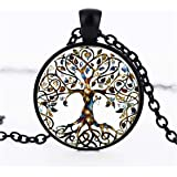 TraveT Women Ladies' Necklace Family Tree of Life Glass Gem Pendant Necklace Long Chain Blessing Necklaces