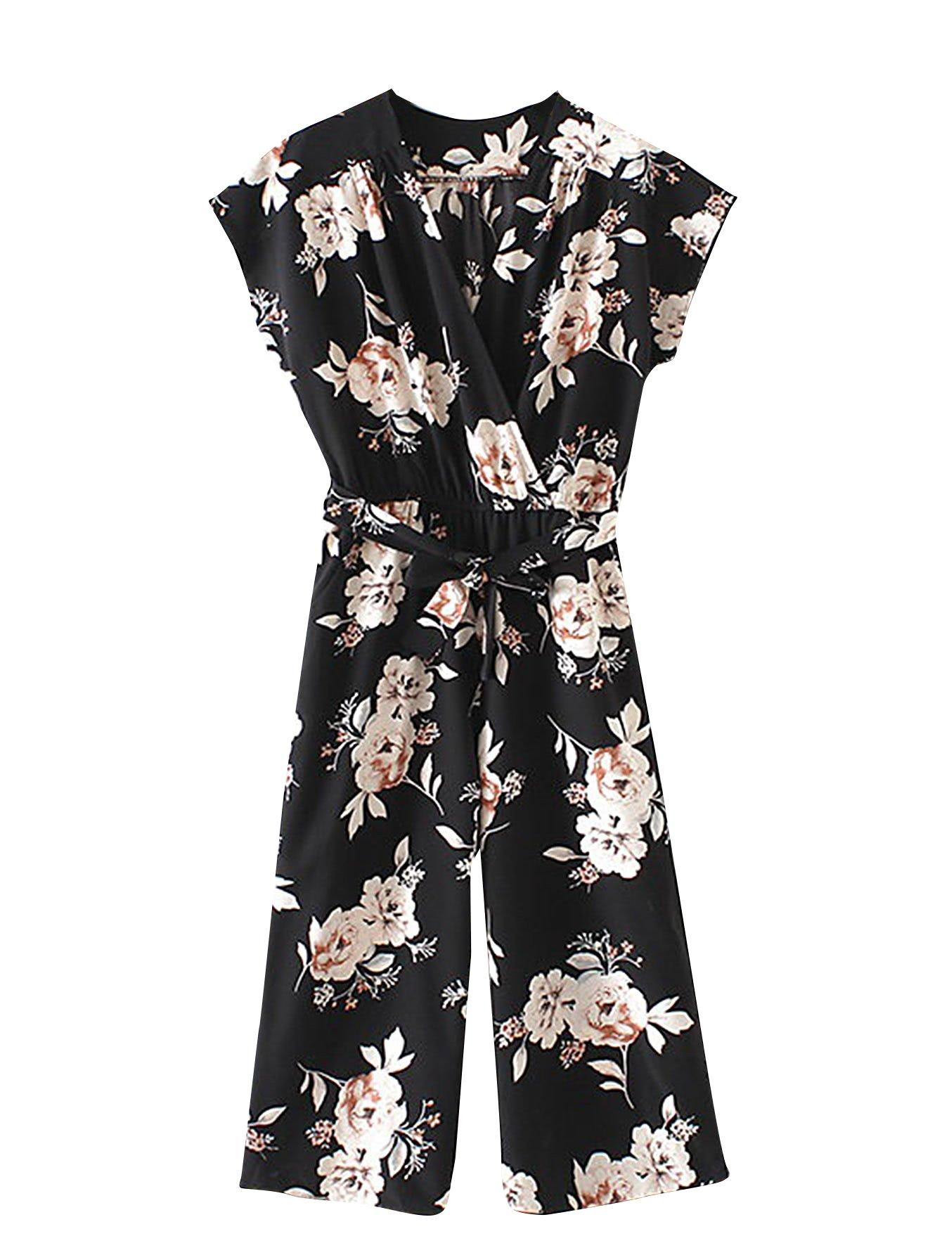 Romwe Women's Floral V Neck Jumpsuit with Self Tie Mid Waist Cap Batwing Sleeve Romper Black S