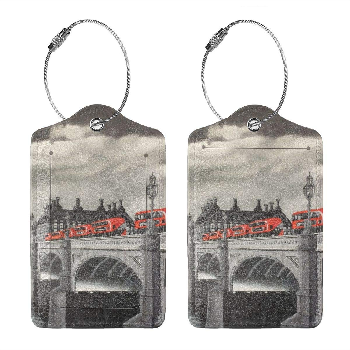 Bridge And Red Bus Luggage Tag Label Travel Bag Label With Privacy Cover Luggage Tag Leather Personalized Suitcase Tag Travel Accessories