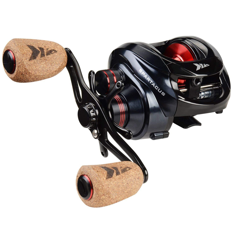 KastKing Spartacus Plus Baitcasting Fishing Reel Ultra Smooth 17.5 LB Carbon Fiber Drag, 6.3:1 Gear Ratio,11 + 1 Shielded Ball Bearings, Rubber Cork Handle Knobs