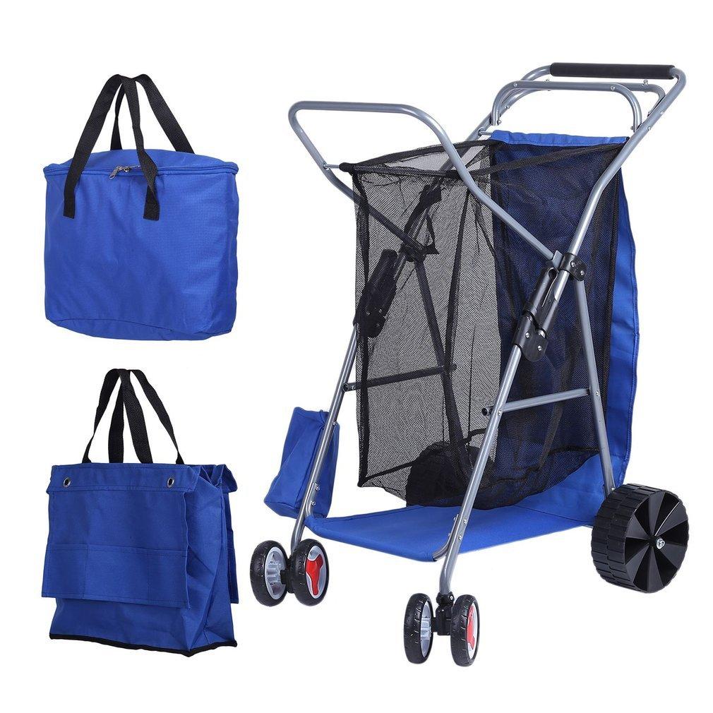 homgrace plegable 4 ruedas carro de playa plegable plegable al aire libre gran capacidad utilidad Wagon con extraíble bolsa térmica: Amazon.es: Oficina y ...