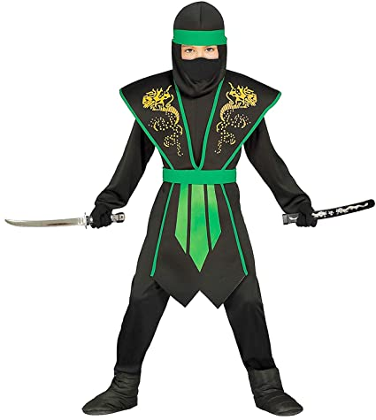 Magicoo Ninja Costume kids green with stylish armor Black ...