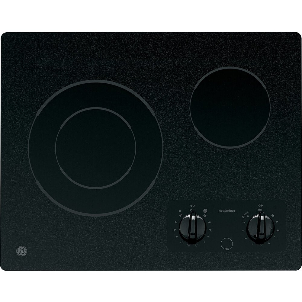 """GE JP256BMBB 21 Inch Smoothtop Electric Cooktop with 2 Ribbon, 6""""/9 Inch Dual Element, Simmer Option and Hot Surface Indicator Light"""