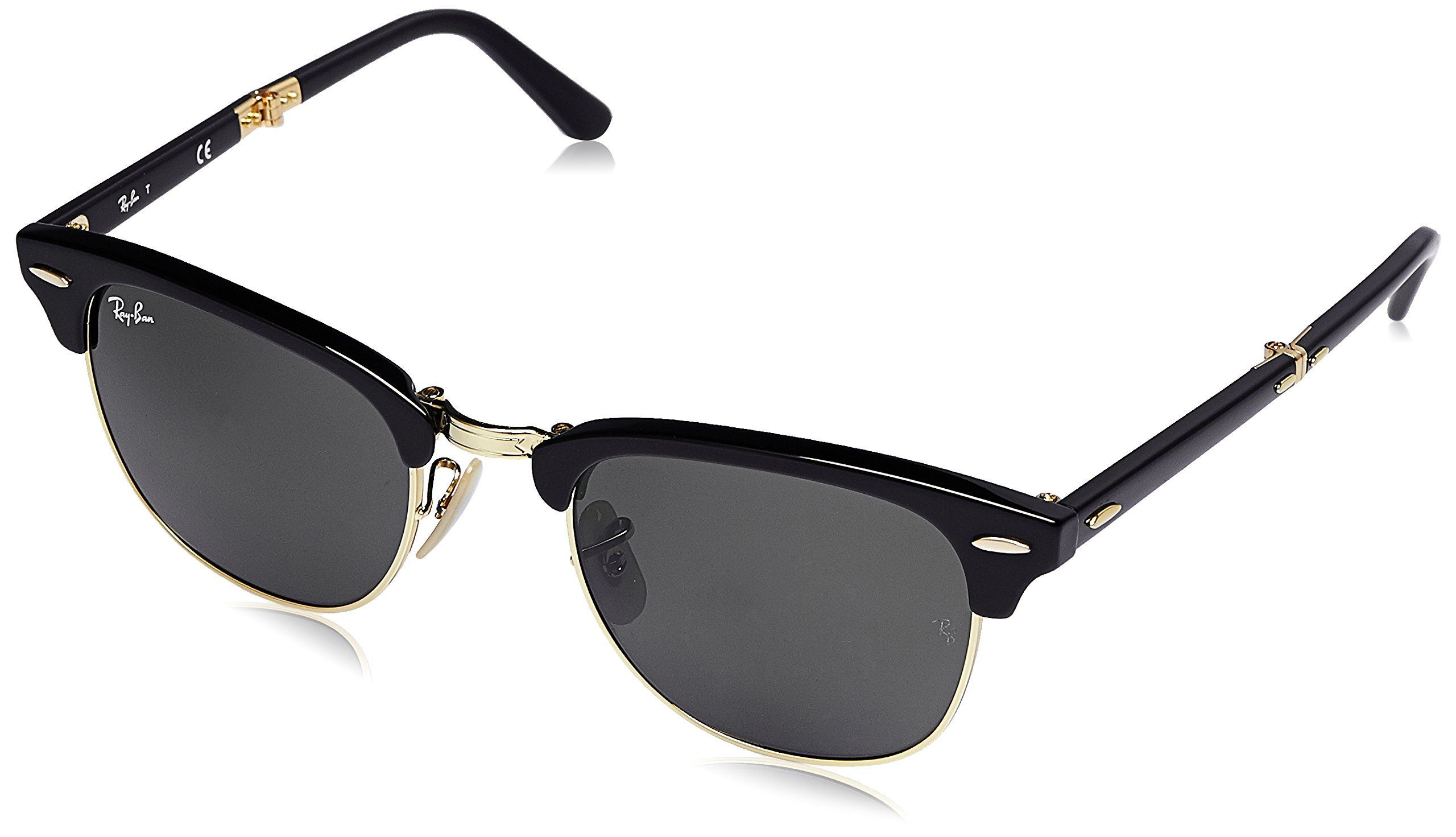 Ray-Ban Unisex-Adult Clubmaster Folding 0RB2176 Square Sunglasses, BLACK, 51 mm