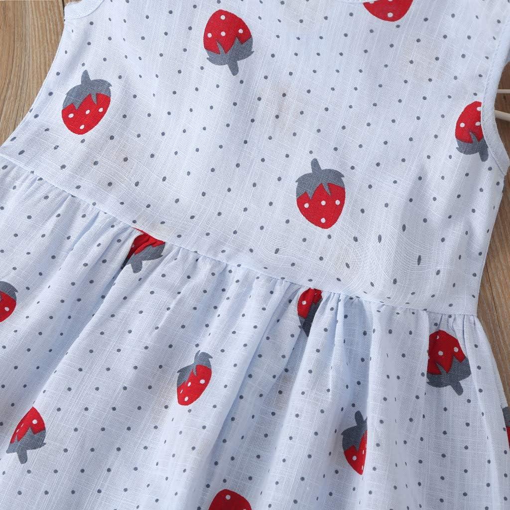 Baby Girls Sundress,Toddler Kids Baby Girls Cartoon Strawberry Princess Summer Dress Clothes