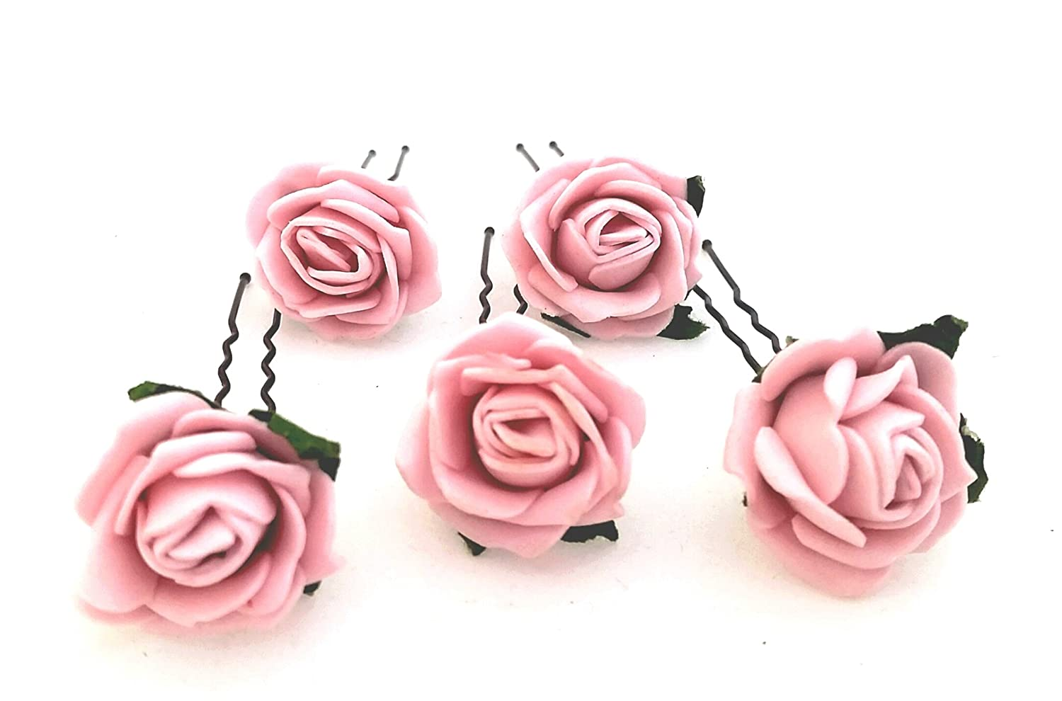 Fabulous Fascinators 5 Mini Vintage Pink Roses Artificial Hair Flower Pins Hand Made in UK
