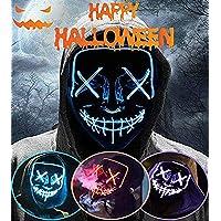 LED Purga Mascara Halloween Terror MáScaras,MáScara Disfraz Luminosa,para Hombre NiñOs Navidad Halloween Cosplay Grimace…