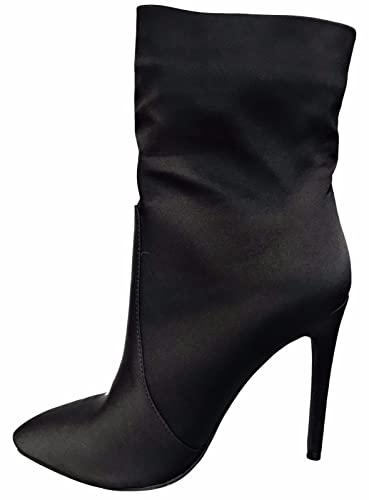 Justina-01 Satin Pointed Toe Stiletto Heel Ankle High Boots Black