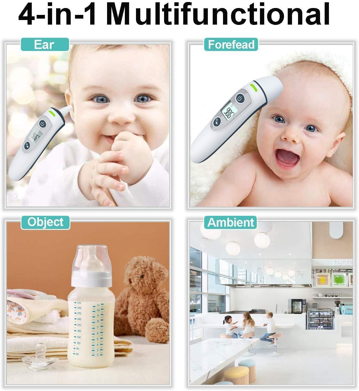 3-5 Ship Digital Thermometer for Adults,Infrared Ear Thermometer with Fever Alarm,Accurate Forehead Thermometer No Contact Thermometer for Baby//Child