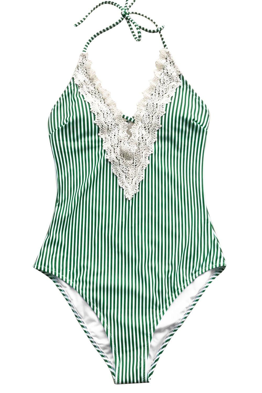 Seaselfie Women's Lace Splicing Plunge Neckline Cross Padding Swimsuit YY992