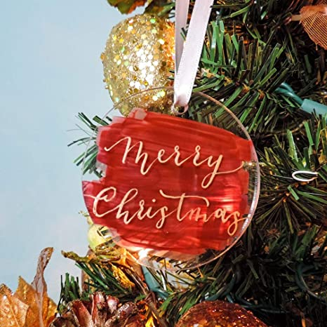 Clear Acrylic The Year of Lockdown 2020 Christmas Tree Decoration Bauble Traditional Xmas Tree Ornament for Family