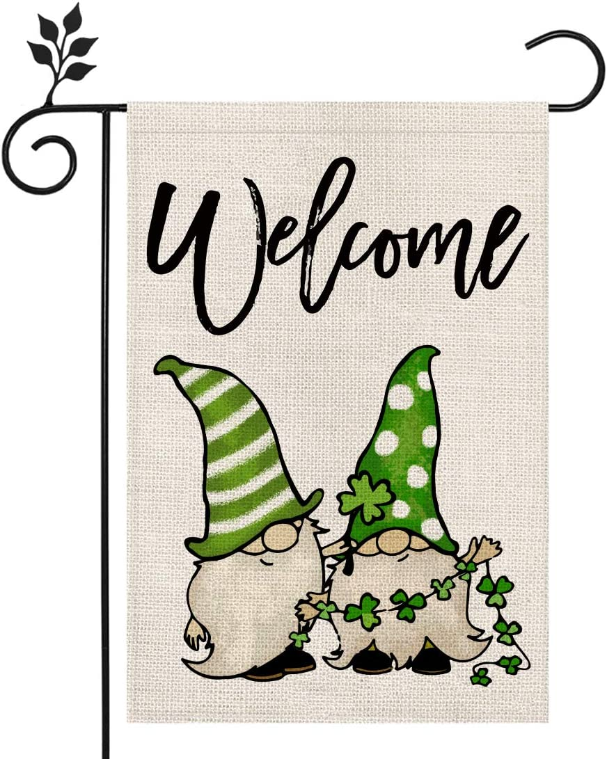 CROWNED BEAUTY St Patricks Day Garden Flag 12×18 Inch Green Gnomes Welcome Small Vertical Double Sided Parade Holiday Outside Décor for Yard Farmhouse CF076-12