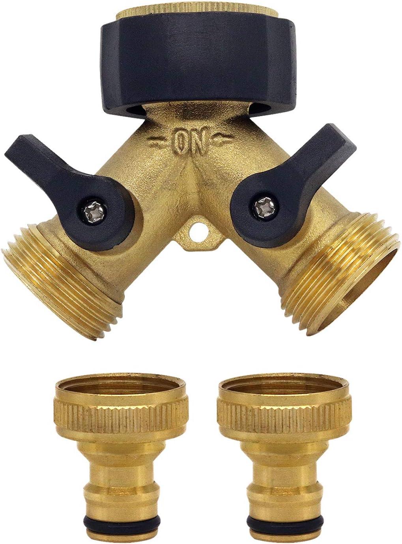 CT Heavy Duty Brass Connector,Garden Hose Splitter Two Way Brass Tap Manifold Brass Garden Hose with Comfort Grip Shut-off Valves Y Valve