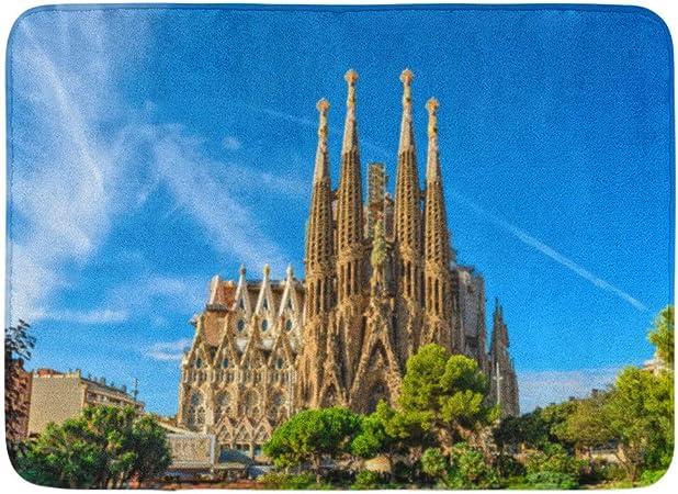 Alfombras de baño Alfombras de baño Alfombrilla exterior / interior Barcelona España 24 de septiembre Catedral de la Sagrada Familia Está diseñada por el arquitecto Antonio Gaudí Alfombra de baño Deco: Amazon.es: