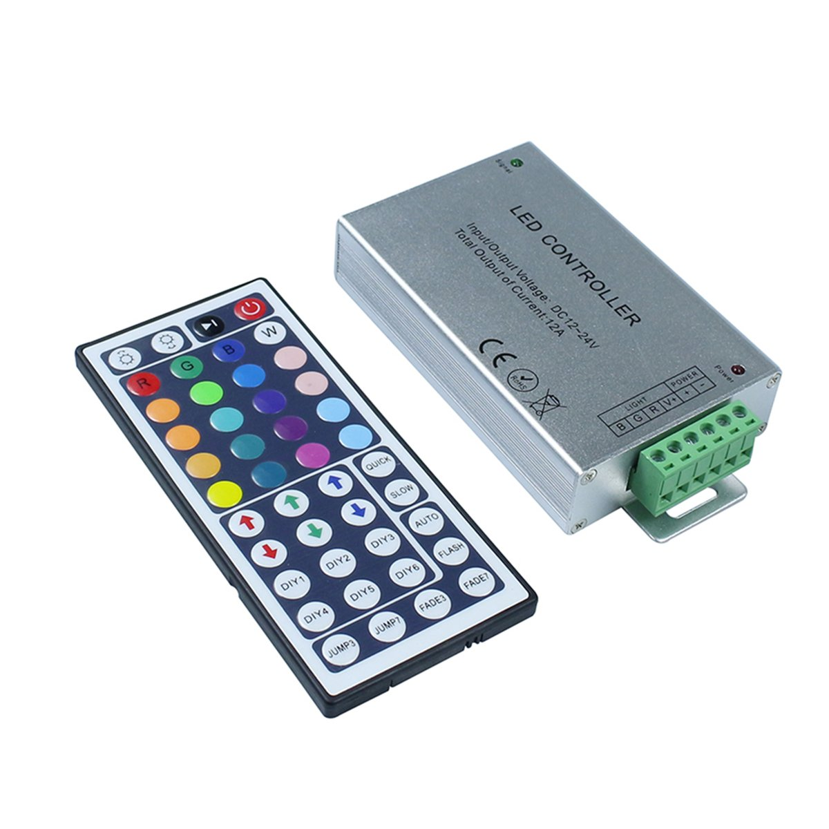 KPBOTL DC12-24V 12A RGB led controller, IR controller with 44 Key Remote control,Aluminum light controller for 3528 5050 RGB led strips by KPBOTL (Image #1)