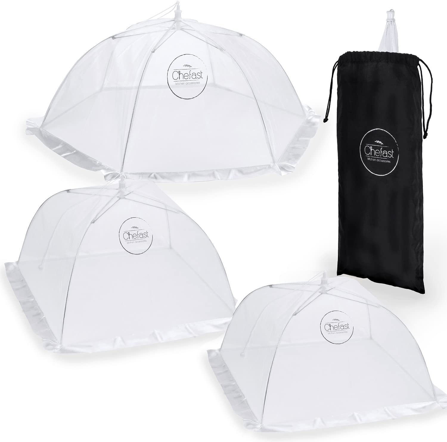Chefast Food Cover Tents (4 Pack) - Combo Set of Pop Up Mesh Covers in 4 Sizes and a Reusable Carry Bag - Umbrella Screens for Picnics, BBQ, Outdoors and More