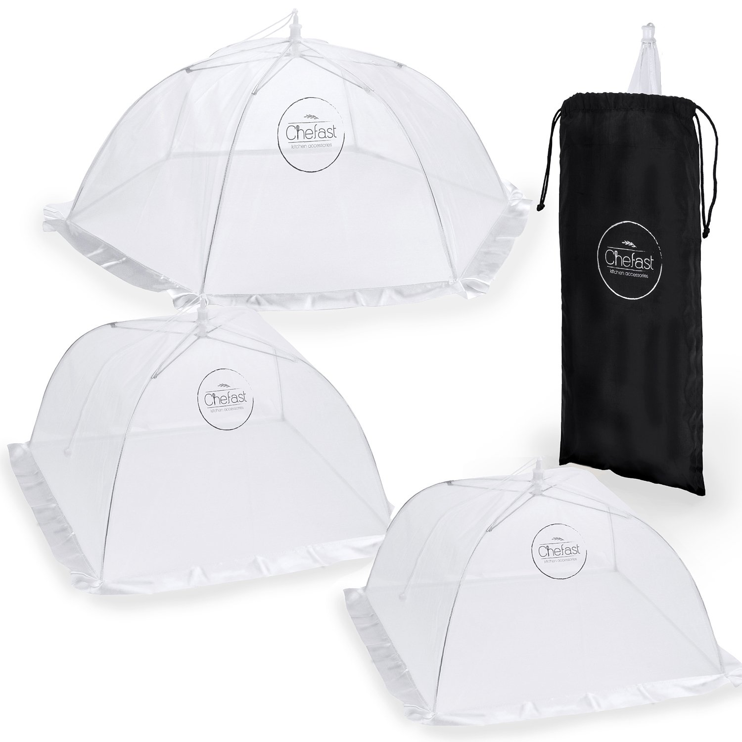 Chefast Food Cover Tents (4 Pack) - Combo Set of Pop Up Mesh Covers in 4 Sizes and a Reusable Carry Bag - Umbrella Screens to Protect Your Food and Fruit from Flies and Bugs at Picnics, BBQ and More