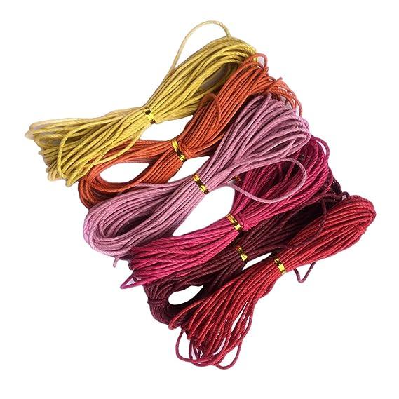 sharprepublic 6 Colores 2mm Hilo de Cordón de Algodón de Cera ...