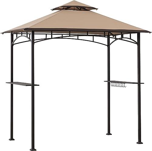 Sunjoy A103002203 Harborcreek 5×8 ft. Steel 2-Tier Grill Gazebo