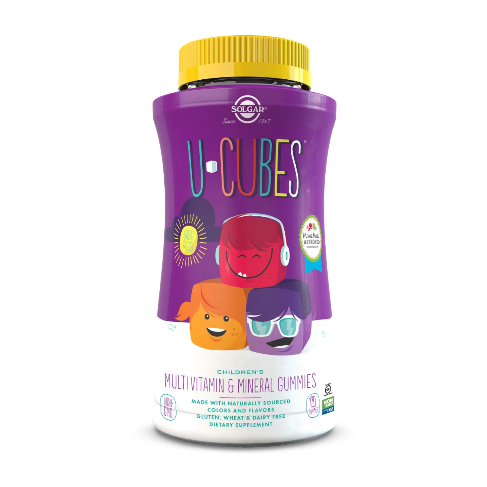 Solgar U-Cubes Children's Multi-Vitamin & Minerals , 120 Gummies - 3 Great-Tasting Flavors , Grape , Orange & Cherry - Ages 2 & Up - Non GMO , Gluten Free , Dairy Free - 60 Servings
