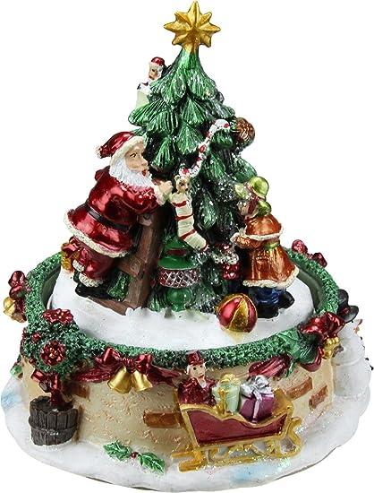 northlight 6 animated santa claus and christmas tree winter scene rotating - Santa Claus Christmas Tree