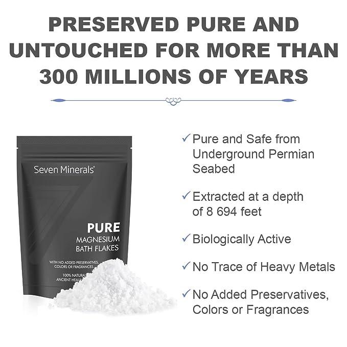 Nuevos copos de cloruro de Mg de Seven Minerals de 3 lb Absorbe mejor la sal de Epsom. Utilice para el remojo para pies o baño corporal completo para la ...