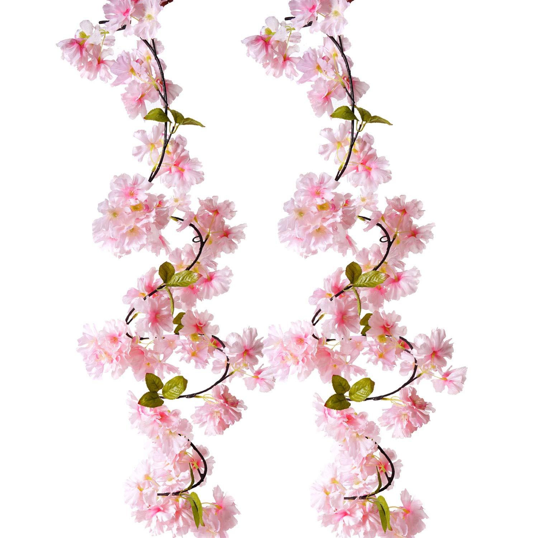 BEFINR 造花 桜 つる ピンク 花びら 永遠の植物 ガーランド アート ホームデコレーション 結婚式 パーティー ガーデン オフィス 2パック B07NQSL6GW