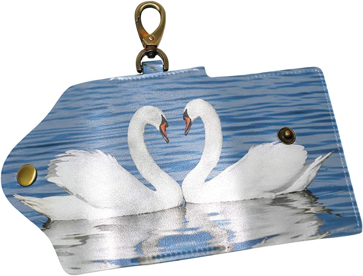 KEAKIA Water Drops Leather Key Case Wallets Tri-fold Key Holder Keychains with 6 Hooks 2 Slot Snap Closure for Men Women