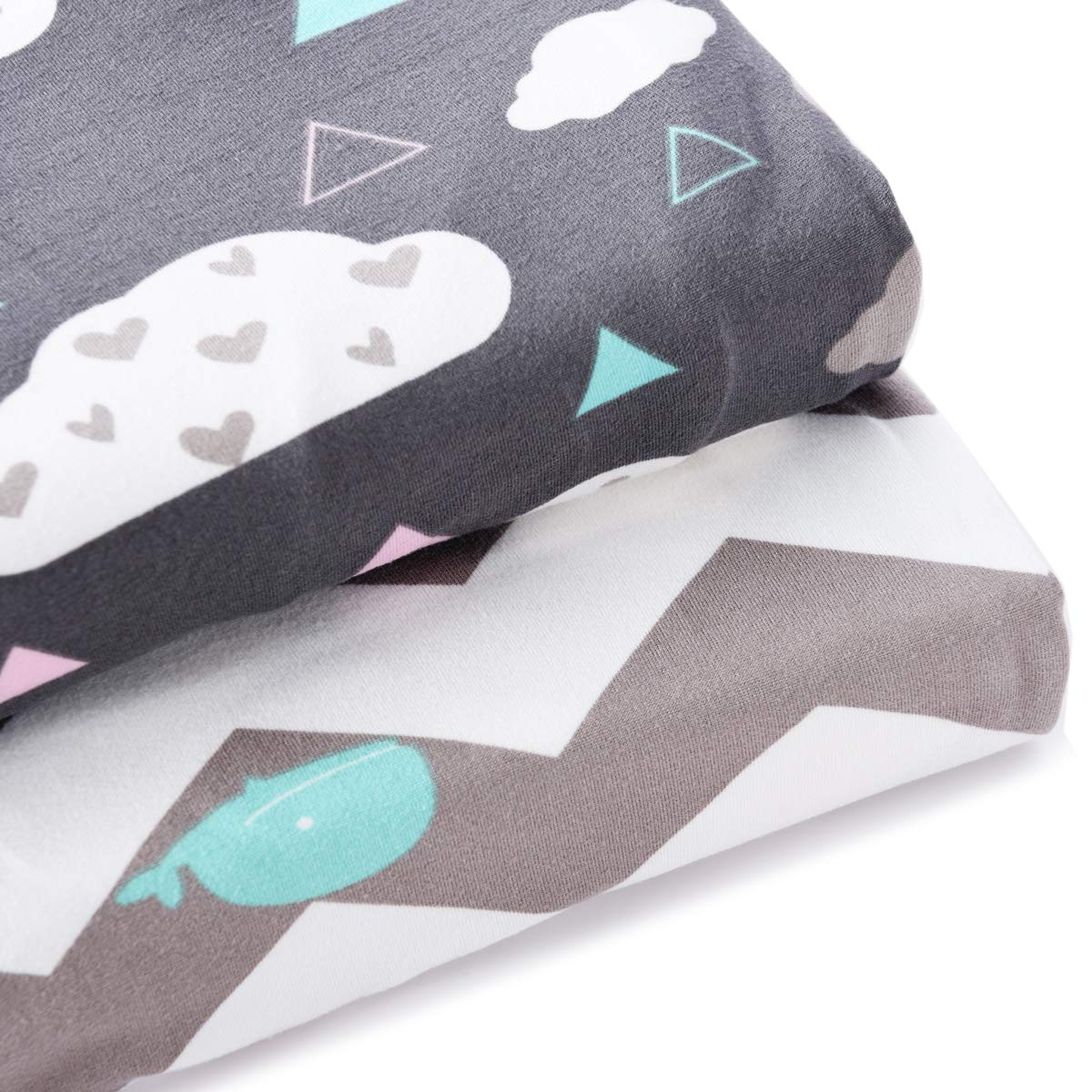 2 Pack Stretchy Crib Sheets for Boys Girls,Universal Knit Fitted for Standard Baby Toddler Crib,Whale//Cloud COSMOPLUS Knitted Crib Sheet Set