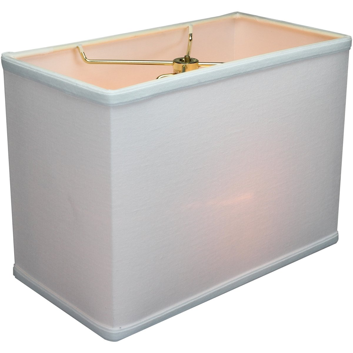 (6x12)x(6x12)x9 Rectangular Drum Lampshade White with Brass Spider fitter By Home Concept - Perfect for table and Desk lamps - Medium, White