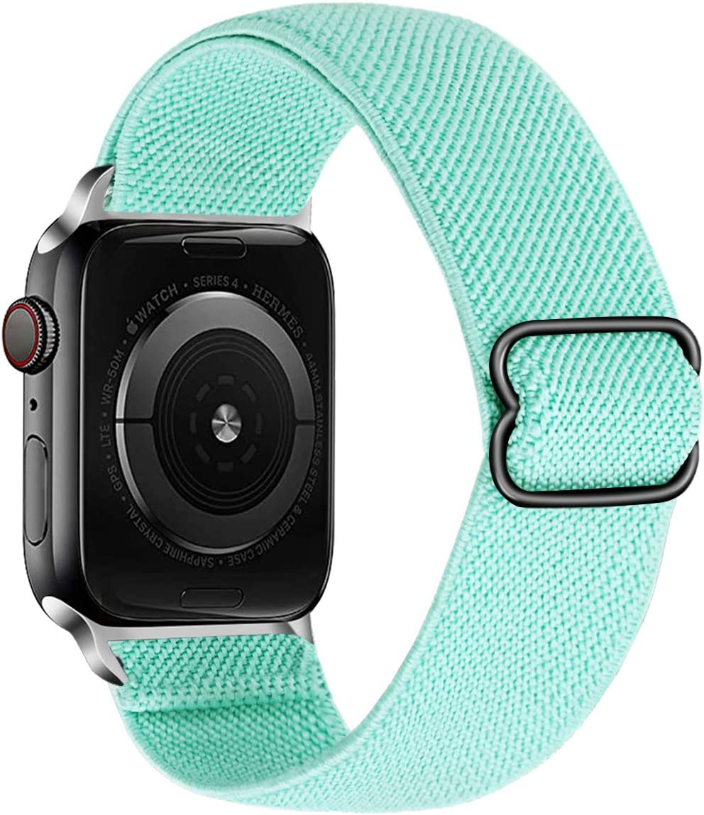 Kraftychix Adjustable Elastic Watch Band Compatible with Apple Watch 38mm/40mm,Soft Stretch Bracelet Women Man Strap Replacement Wristband for Iwatch Series SE/6/5/4/3/2/1(Turquoise Green, 38MM/40MM)