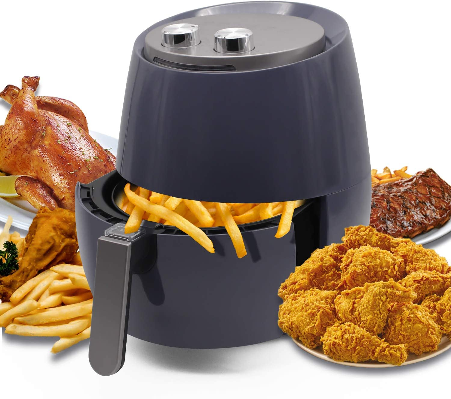 Kazila Chef Air Fryer Large Capacity 3.7 Quart for Healthy Oil Free Cooking Non-Stick Dishwasher Safe Basket,Blue
