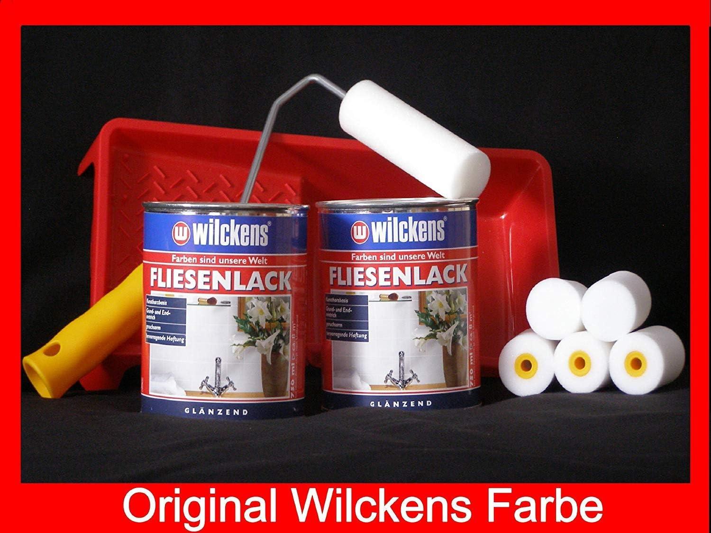 3 Dosen FLIESENLACK inkl FARBROLLER WILCKENS wei/ß f/ür 24 qm