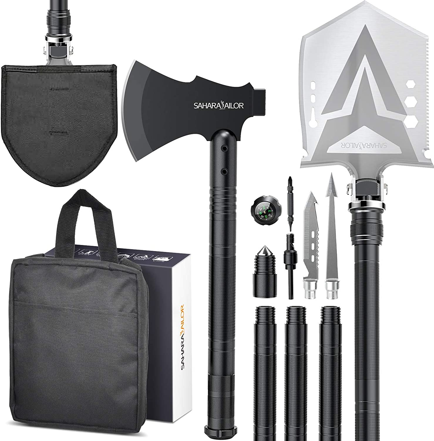 Sahara Sailor Survival Shovel with Axe, High Carbon Steel Tactical Shovel Camping Shovel Hatchet Combo - 4 Thicken Extension Handles, 20-39.5 Inch Survival Gear and Equipment for Hiking Camping