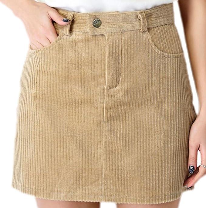 confit you - Damen Kurzer Cordrock mit Taschen, 36, Beige  Amazon.de ... a71ee3060d