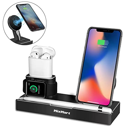 san francisco df25a 6c0de Wireless Charger Stand Compatible for iPhone Xs/Xs Max/Xr/X, 6 in 1  Aluminum Charging Dock for iWatch/AirPods/iPad/Apple Pencil, Detachable  Wireless ...