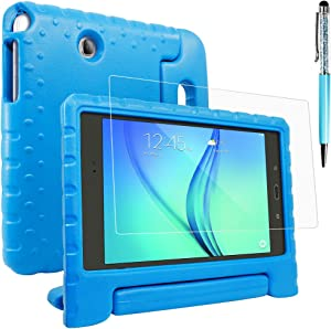 Protective Case Compatible Samsung Galaxy Tab A 8.0 SM-T350 with Screen Protector & Stylus, AFUNTA Shockproof Convertible Handle Stand EVA Case, PET Plastic Cover & Touch Pen for Tablet 8 Inch - Blue