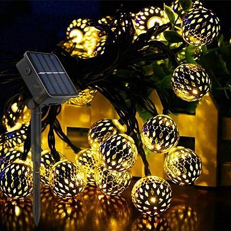 LightJH Guirnalda Luces Exterior Solar, Luces Solares De Jardín, Luces De Globo, Luces Hadas LED Impermeables 20 Bolas,Iluminación Decorativa para El Hogar, Jardín, Fiesta, Festival: Amazon.es: Hogar