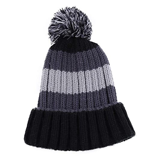 86908f9482a B.J Kids Knitted Cozy Warm Winter Snowboarding Ski Hat with Pom Pom Slouchy  Hat. Roll over image to zoom in