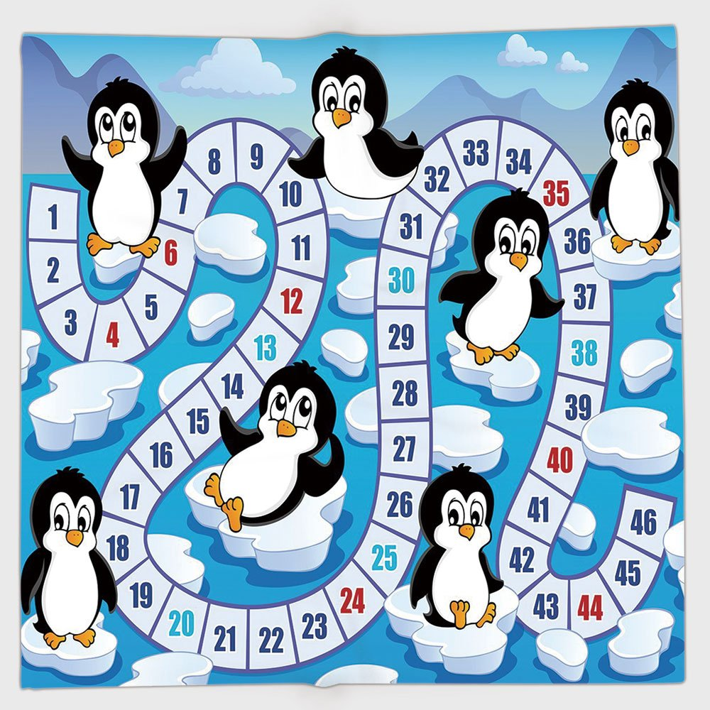 Cotton Microfiber Hand Towel,Board Game,Cute Funny Penguins Antarctica Aquatic Environment Iceberg Ocean Happy Animals,Multicolor,for Kids, Teens, and Adults,One Side Printing