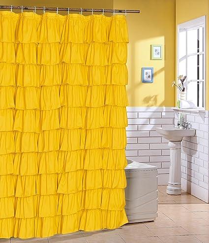 Flamenco Ruffle Shower Curtain Yellow